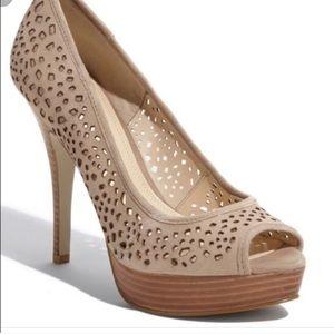 Enzo Angiolini beautiful tan suede open toe heels
